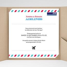 Faire-Part Mariage Pochette carré - Airlines - 0