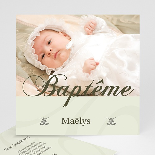 Faire-part Baptême Fille - Cérémonie - Beige 3774