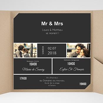 Faire-Part Mariage Pochette carré - Mr & Mrs - 0
