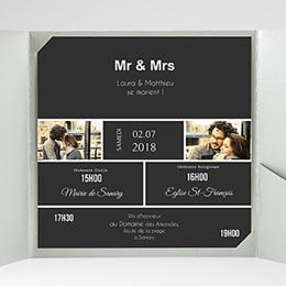 Faire-Part Mariage Pochette carré - Mr & Mrs - 2