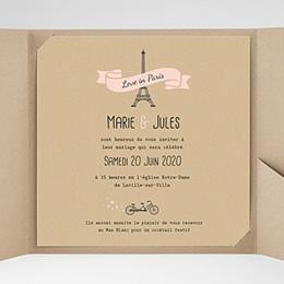 Faire-Part Mariage Pochette carré - Love in Paris - 0