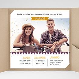 Faire-Part Mariage Pochette carré - Photo et confettis - 0
