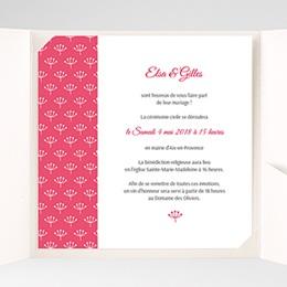 Faire-Part Mariage Pochette carré - Fleurs framboise - 1