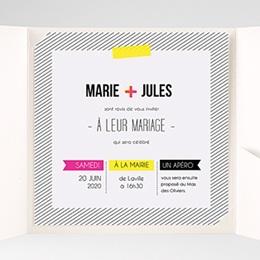 Faire-Part Mariage Pochette carré - Fluo - 1