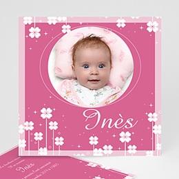 Faire-Part Naissance Fille - Petite Fleur - Rose 3838