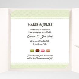 Faire-Part Mariage Pochette carré - Amour de macaron - 1