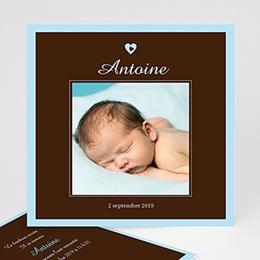Faire-Part Naissance Garçon - Bonheur Bleu Chocolat 3842