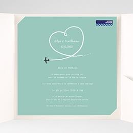 Faire-Part Mariage Pochette carré - Avion voyage - 1