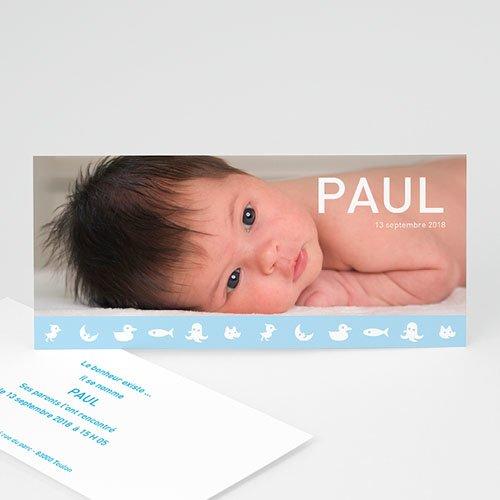 Faire-Part Naissance Garçon - Frise bleue de douceur  3906