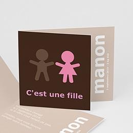 Faire-Part Naissance Fille - C'est une fille - Marron Chocolat - 3