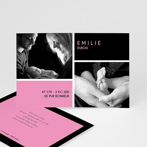 Faire-Part Naissance Fille - Enfant bonheur - rose 3954