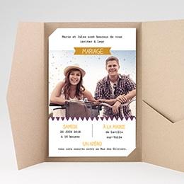 Faire Part Mariage Pochette rectangulaire - Photo et confettis - 0