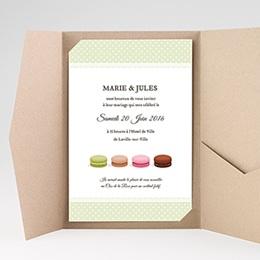 Faire Part Mariage Pochette rectangulaire - Amour de macaron - 0