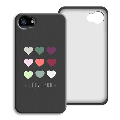 Coque Iphone 4/4s personnalisé - Coeurs de couleurs 40487