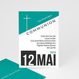 Faire-part Communion Garçon - Affiche moderne - 0