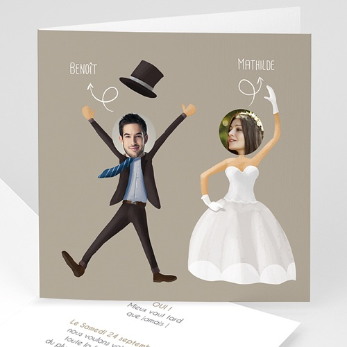 Faire-Part Mariage Personnalisés - On se marie ! 41215