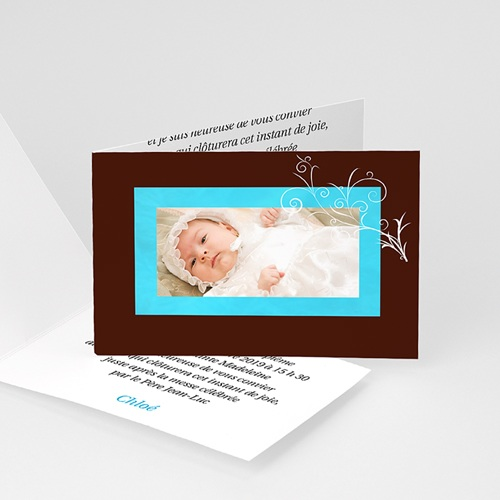Faire-part Baptême Fille - Cadre turquoise et marron 4176