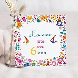 Invitations Anniversaire Fille - 6 ans Vive la fête - 0