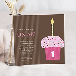 Invitations Anniversaire Garçon - Cupcake rose 41861