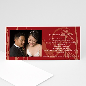 Cartons d'Invitation Personnalisés - Bambou rouge brique - 3