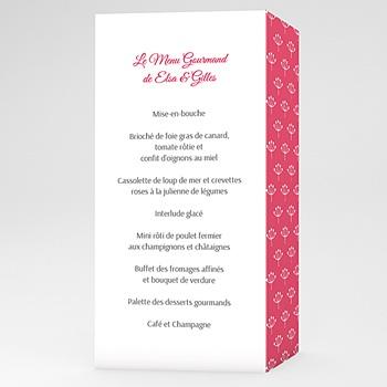 Menus Mariage Personnalisés - Fleurs framboise - 0