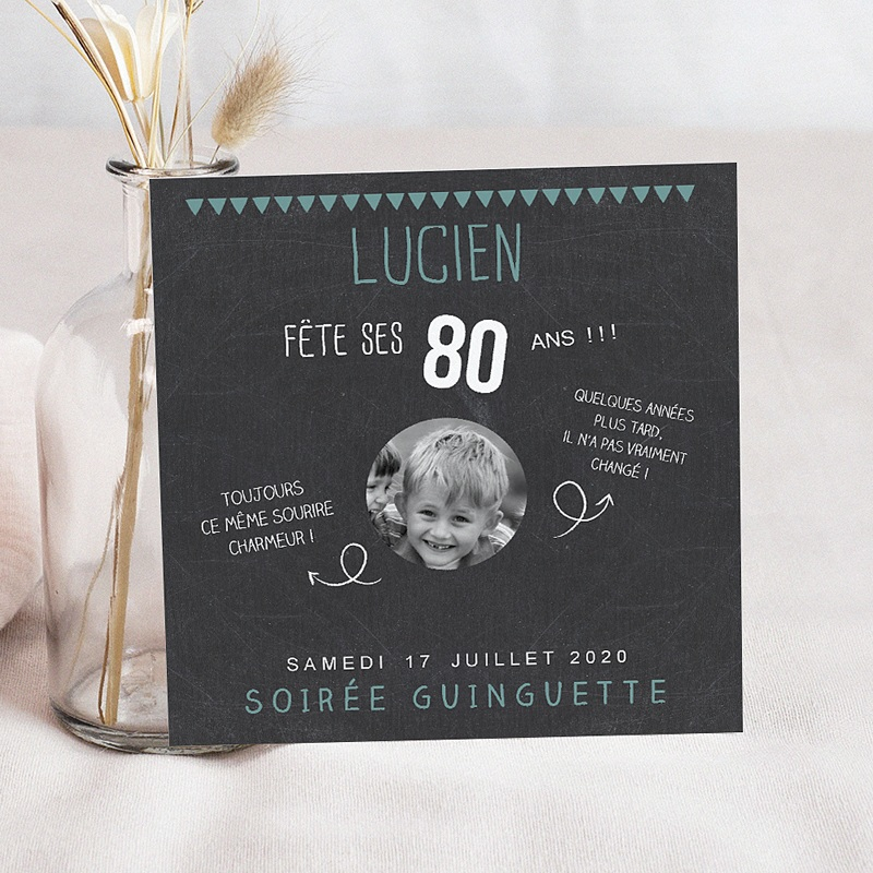 invitation anniversaire adulte 80 ans ardoise. Black Bedroom Furniture Sets. Home Design Ideas