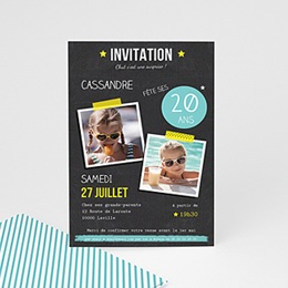 carte invitation anniversaire 20 ans personnaliser. Black Bedroom Furniture Sets. Home Design Ideas