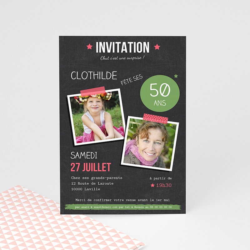 Invitation Anniversaire Adulte Pop 50 ans