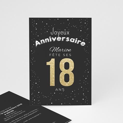 Invitation Anniversaire Adulte - 18 doré 43050