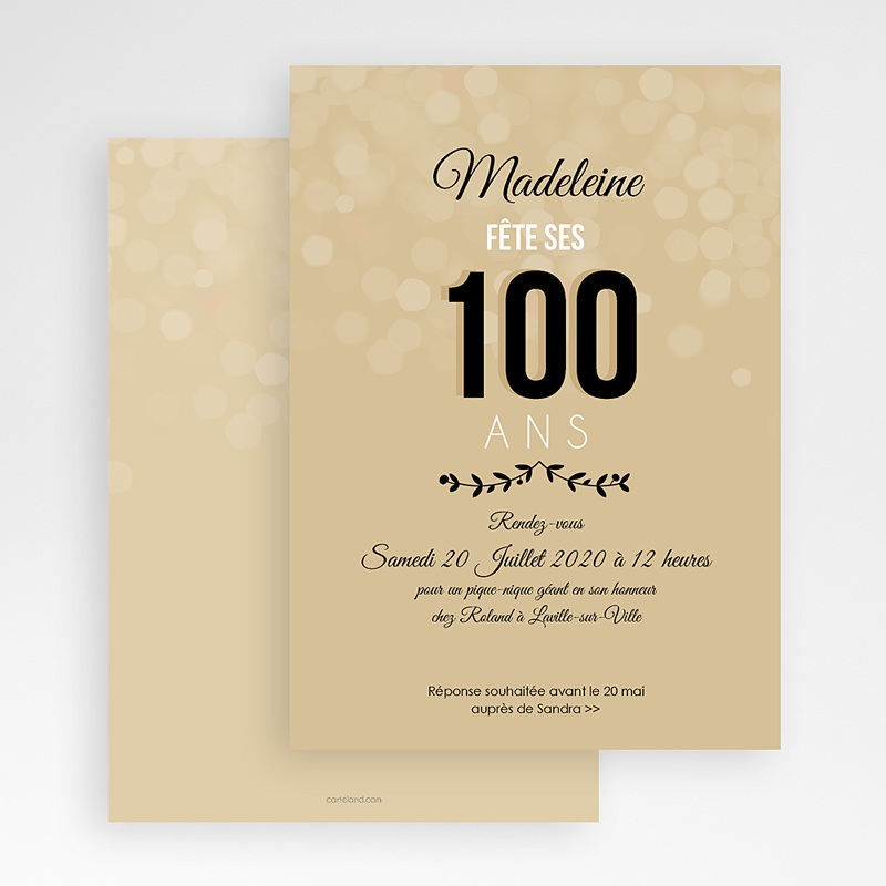 invitation anniversaire adulte 100 ans. Black Bedroom Furniture Sets. Home Design Ideas