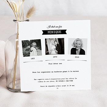carte anniversaire 70 ans invitation femme et homme. Black Bedroom Furniture Sets. Home Design Ideas