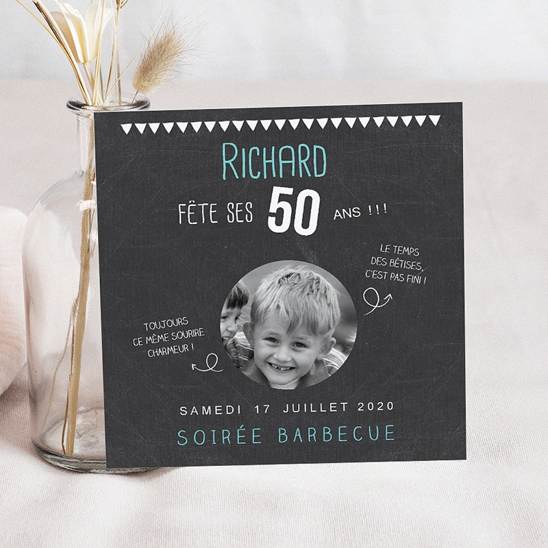 invitation anniversaire adulte 50 ans ardoise. Black Bedroom Furniture Sets. Home Design Ideas