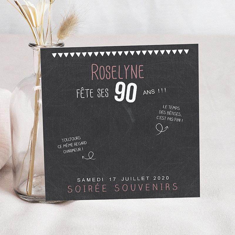 invitation anniversaire adulte 90 ans ardoise. Black Bedroom Furniture Sets. Home Design Ideas