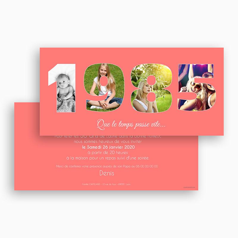 Invitation Anniversaire Adulte rose - 30 ans | Carteland.com
