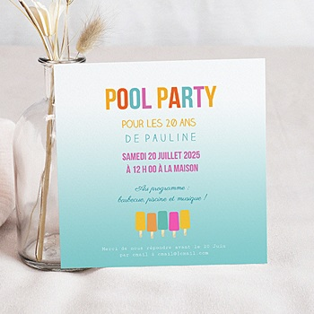 Invitations Anniversaire Adulte - Pool Party - 0
