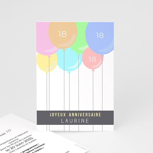 Invitation Anniversaire Adulte - Ballons à gogo 43811