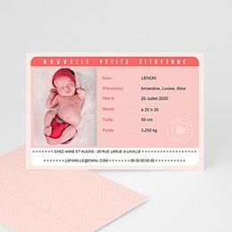 Faire-Part Naissance Fille - Carte Identité Rose - 0