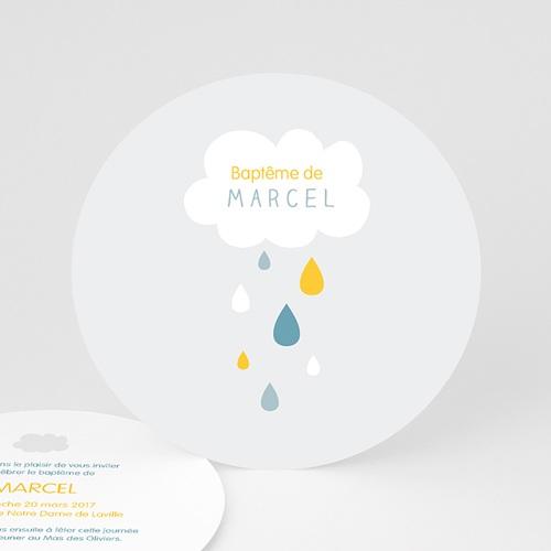 Faire-part Baptême Garçon - Pluie Bénite Bleue 44222