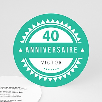 Invitations Anniversaire Adulte - Vintage vert - 0