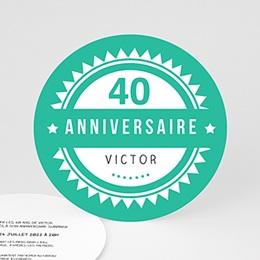 Invitation Anniversaire Adulte - Vintage vert - 0