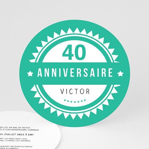 Invitation Anniversaire Adulte - Vintage vert 44250