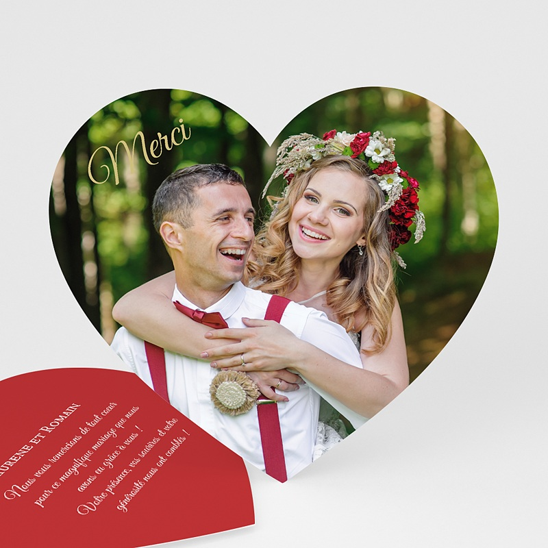 remerciements mariage personnaliss merci coeur 0 - Carte De Remerciement Mariage Original