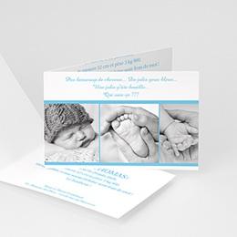 Faire-Part Naissance Garçon - Trio bleu 4436