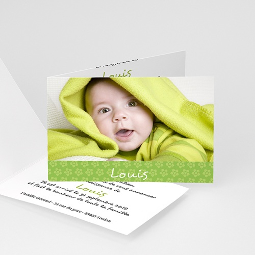 Faire-Part Naissance Garçon - Imprimé fleuri vert 4444