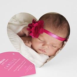 Faire-Part Naissance Fille - Petit Coeur Rose - 0