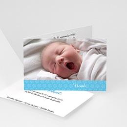 Faire-Part Naissance Garçon - Imprimé fleuri bleu 4456