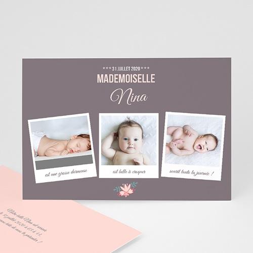 Faire-Part Naissance Fille - Poses bébé 44610