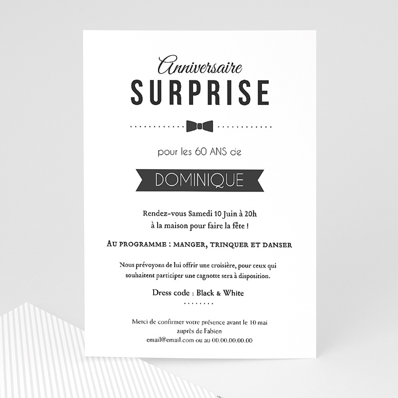 Invitation anniversaire adulte black tie only - Invitation anniversaire surprise ...