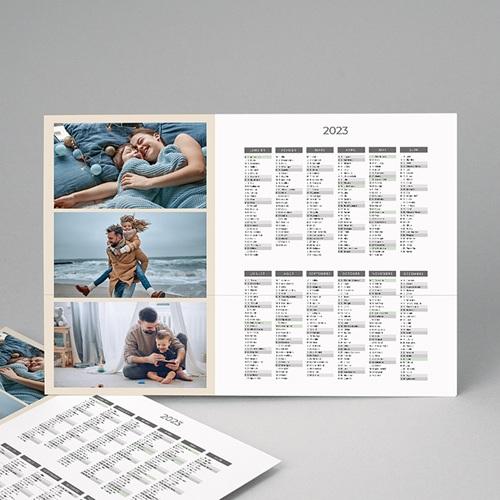 Calendrier Monopage - L'année en trio -Beige 4465