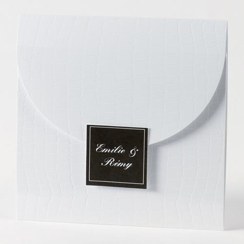 Faire-Part Mariage Traditionnel - Pochette croco 45676